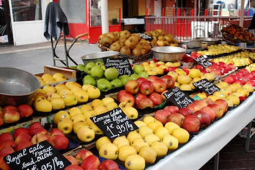 Fresh apples at Nice market in France