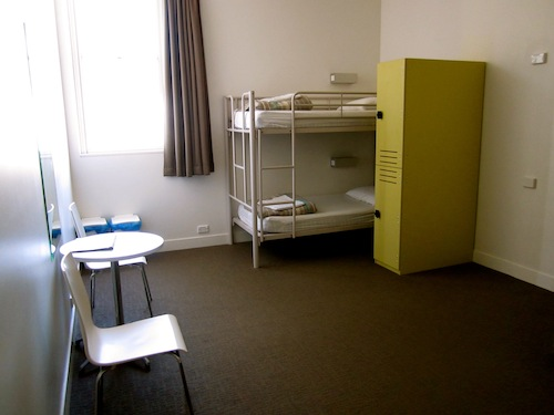 Bunk beds, lockers, open space