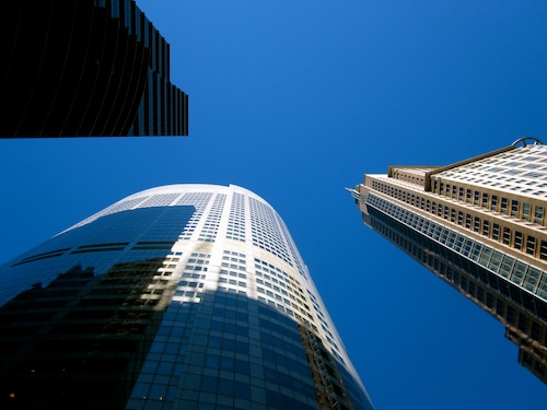 Buildings in downtown Sydney CBD, Australia on a blue sky day