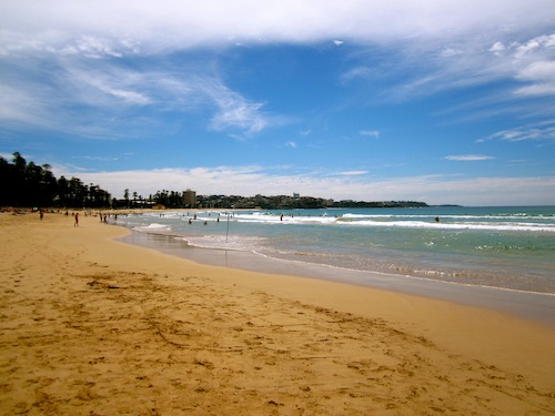 Manly Beach in Sydney, Australia on a sunny day