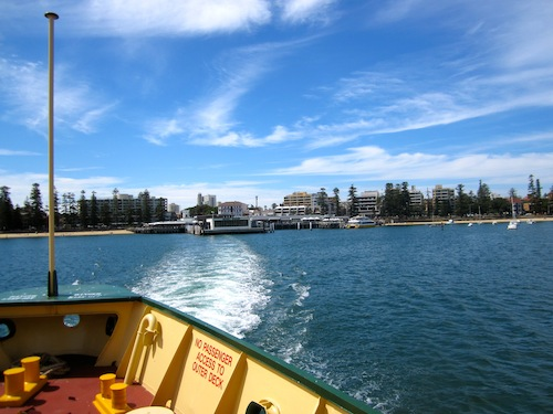 The view of Manly Beach from the ferry in Sydney, Australia
