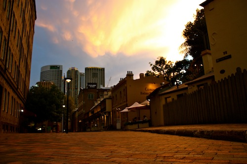 The Rocks at sunset in Sydney, Australia