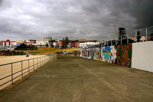 Street art on a stormy day on Bondi Beach in Sydney, Australia