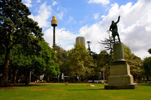 View of the Sydney Tower from Hyde Park in Australia