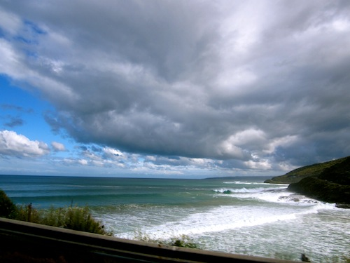Great Ocean Road, Victoria, Australia with blue skies and clouds