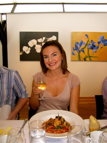 Christine Amorose enjoying lunch at Rochford Wines
