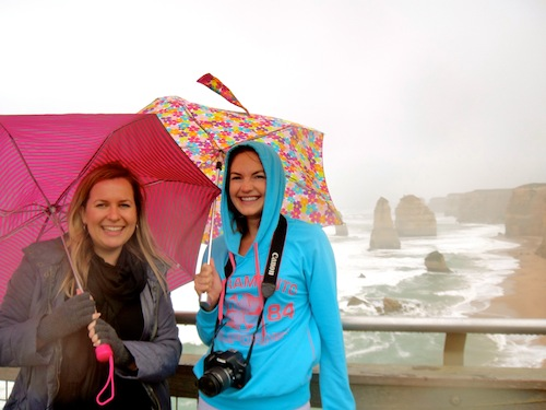 Christine Amorose & Renee Eggers at the 12 Apostles, Victoria, Australia