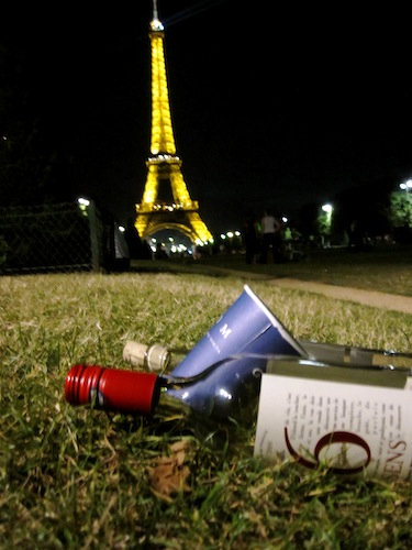 Wine under the Eiffel Tower, Paris, France at night