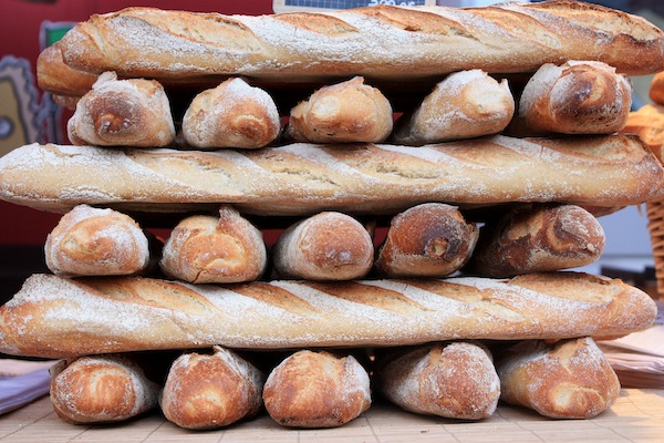 Stacked baguettes in Lyon, France