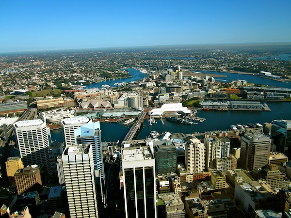 View from Sydney Tower in Australia on a sunny day