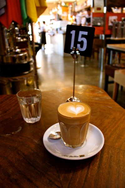 Latte at DiBella Coffee Roasting Warehouse, Melbourne, Australia