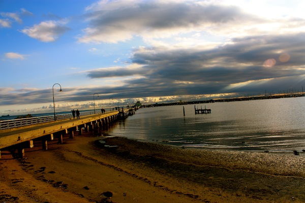 Beautiful cloudy sky over St Kilda Beach, Melbourne, Australia