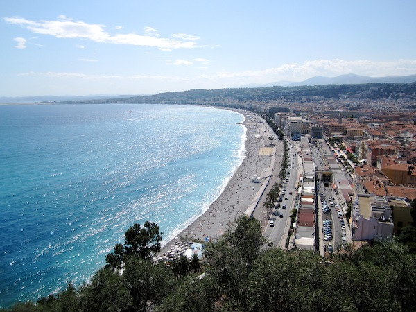 View of Nice, France from Castle Hill on a sunny day