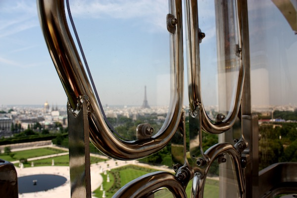 View of the Eiffel Tower from a Ferris Wheel in Paris, France