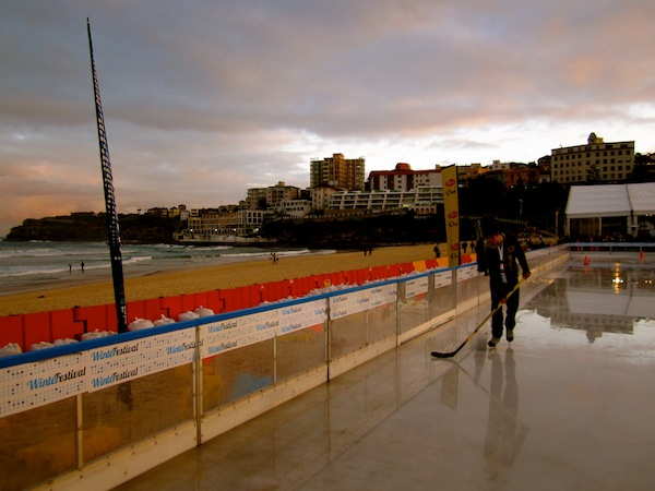 Ice skating at Bondi Beach in Sydney, Australia