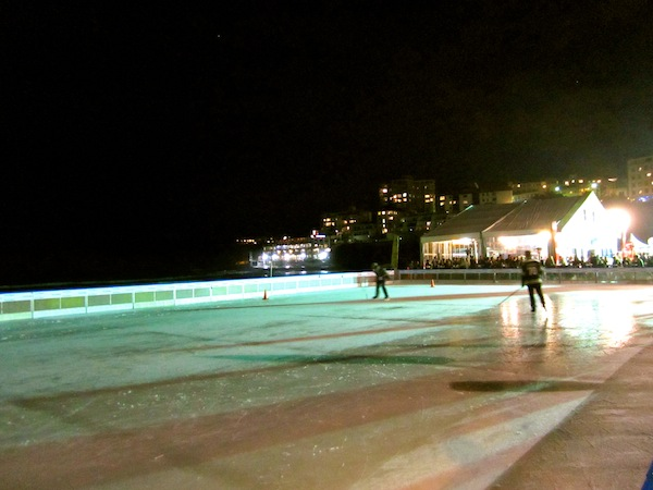 Ice skating at Bondi Beach in Sydney, Australia at night