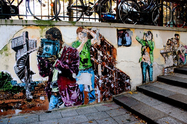 Street art mural in St-Germain neighborhood, Paris, France