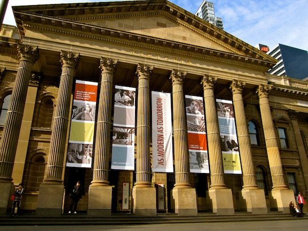 Exterior of State Library of victoria, Melbourne, Australia