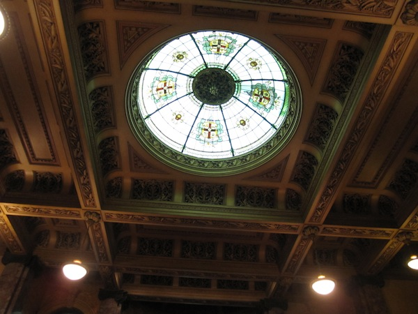 Beautiful roof stained glass in Melbourne Town Hall, Australia