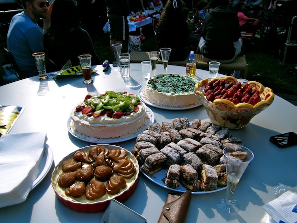 Traditional spread of Australian desserts at a party