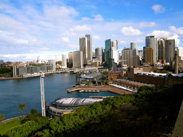 View of the Sydney CBD downtown from Harbour Bridge, Australia