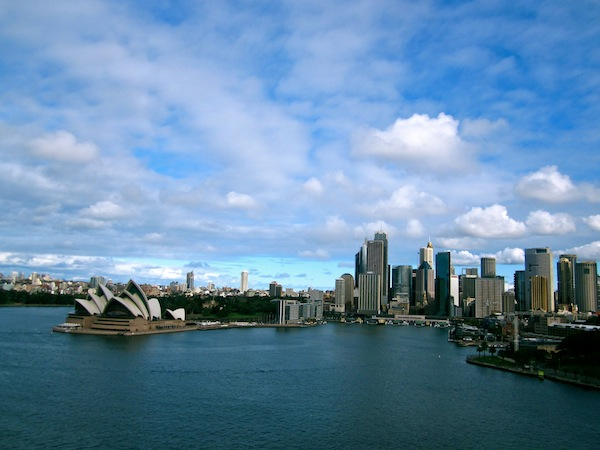 View of the Sydney CBD from the Harbour Bridge, Australia