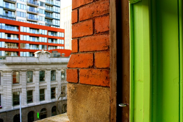 Green window in Hub Coworking Space in Donkey Wheel House, Melbourne, Australia