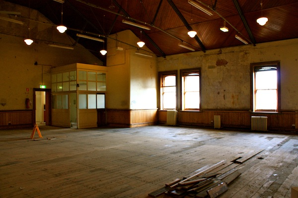 Ballroom undergoing renovation in Donkey Wheel House, Melbourne, Australia