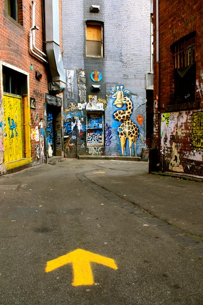 Graffiti in street art alleyway of ACDC Lane, Melbourne, Australia