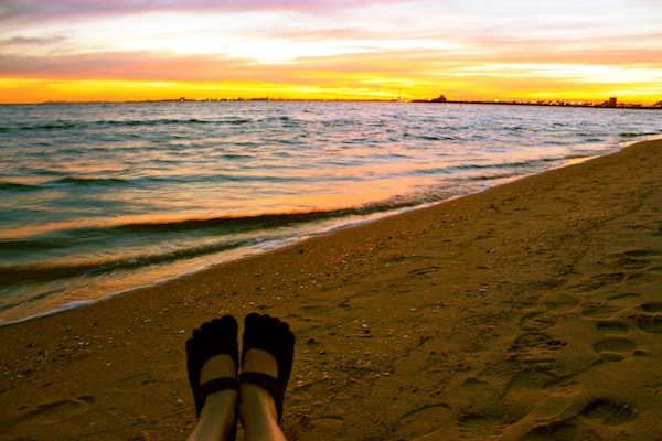 Vibram Five Fingers at sunset in St Kilda, Melbourne, Australia