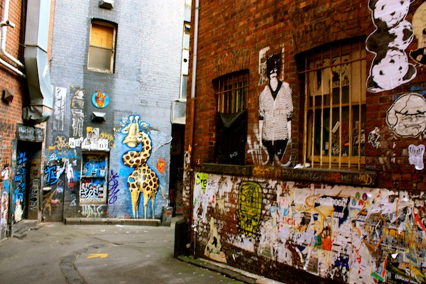 Graffiti street art in ACDC Lane, Melbourne CBD, Australia