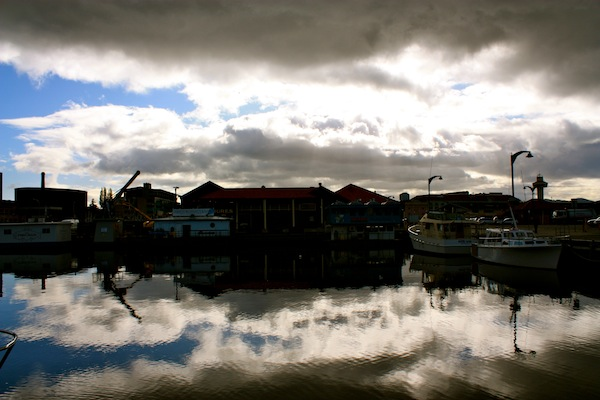 Hobart Harbour on Derwent River in Tasmania, Australia in the morning