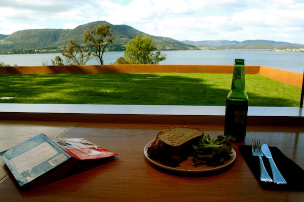 Lunch with a view at the MONA, Museum of Old and New Art, Hobart, Tasmania