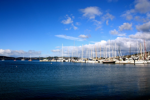 Hobart Harbour on Derwent River in Tasmania, Australia on a clear day