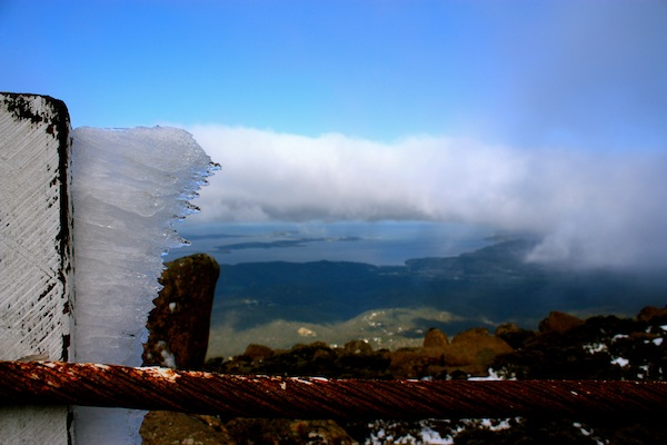 View from the top of snowy Mount Wellington, Hobart, Tasmania