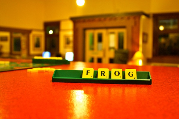 Scrabble set at The Pickled Frog hostel in Hobart, Tasmania