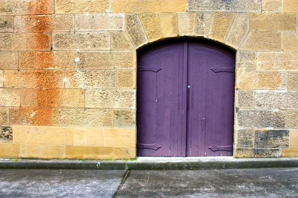 Purple door in Hobart, Tasmania, Australia