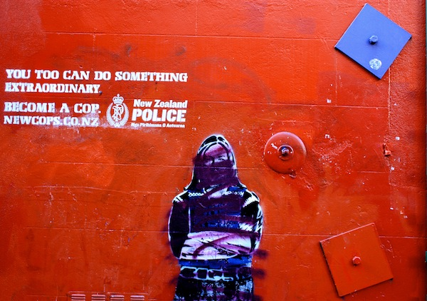 Police graffiti street art in Wellington, New Zealand