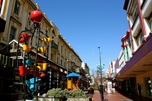 Cuba Street on a sunny day in Wellington, New Zealand