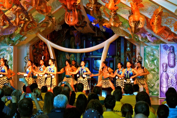 Kiwi dancers doing the haka at Te Papa, Wellington, New Zealand