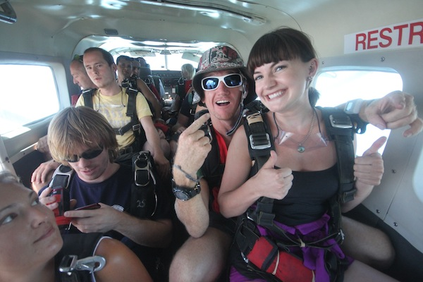 In the plane Skydive Mission Beach, Cairns, Australia
