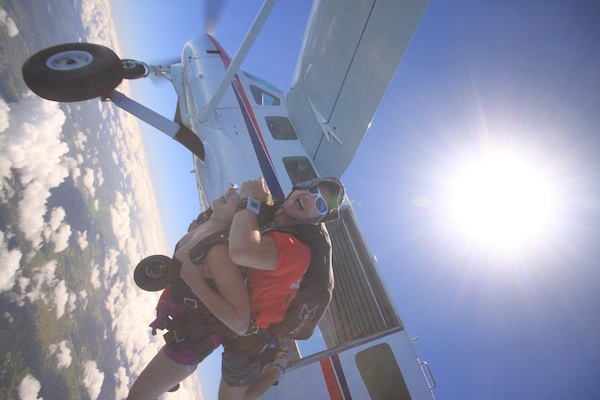 Jumping out of the plane, Skydive Mission Beach, Cairns, Australia