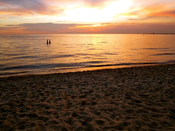 Sunset at St Kilda beach, Melbourne, Australia