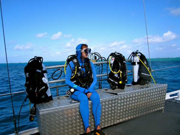 Christine Amorose, scuba diving on the Great Barrier Reef, Cairns, Australia