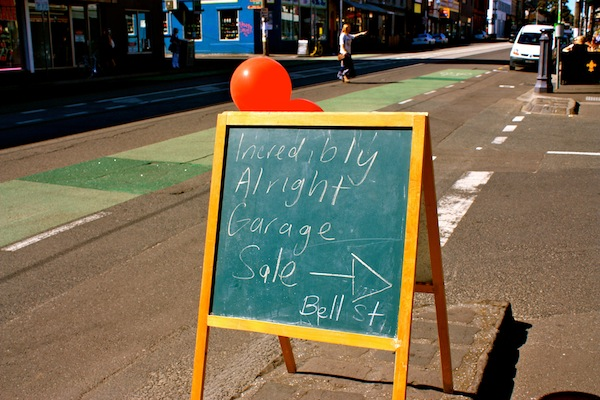 Garage sale sign in Fitzroy, melbourne, Australia