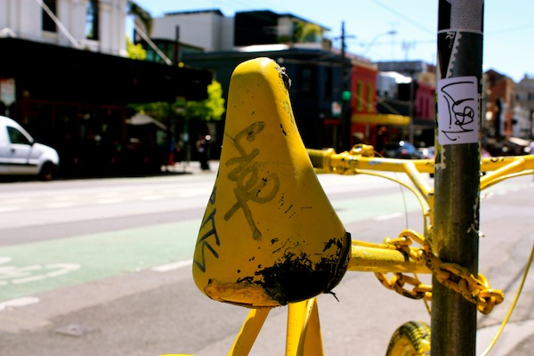 Yellow bicycle Street art in Fitzroy, Melbourne, Australia