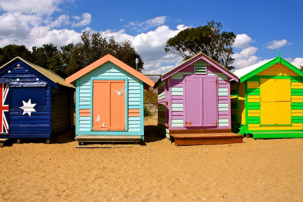 Dendy Street Beach Bathing Boxes in Brighton, Melbourne, Australia