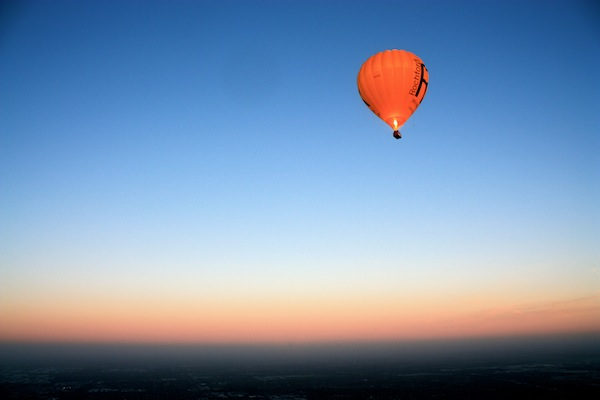 Hot air balloons over Melbourne, Australia at sunrise
