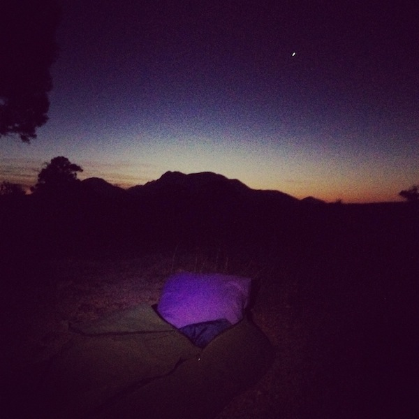 Sleeping in a swag under the Stirling Ranges, Western Australia