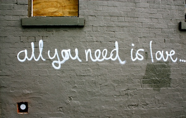 All you need is love, street art in Fitzroy, Melbourne, Australia